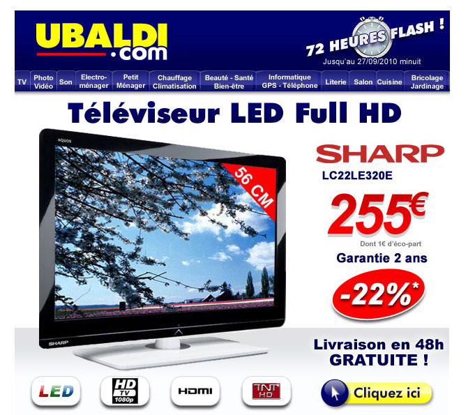 Téléviseur LCD LED 56 cm Full HD SHARP LC22LE320E