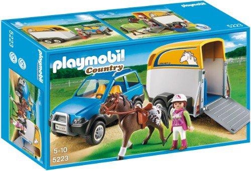 PLAYMOBIL 5223 - Voiture avec remorque et cheval