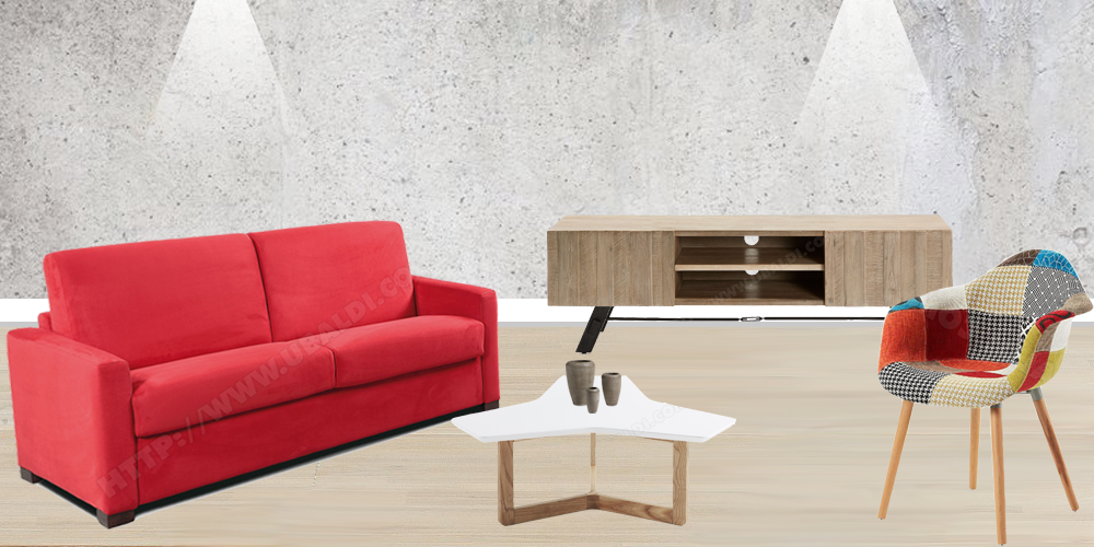 Canapé, table basse, fauteuil et meuble TV, tout pour aménager votre salon !