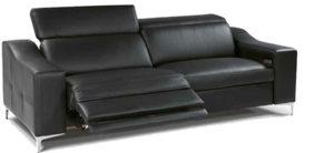 Canape cuir noir relaxation oscar