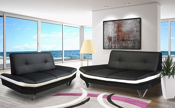 Canapé simili cuir noir et blanc valerie