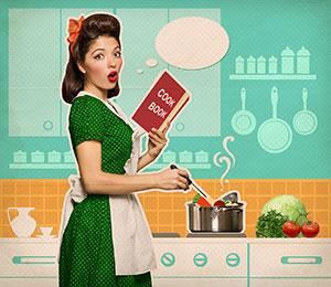 Femme-cuisine-recette-retro