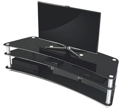 meuble tv verre trempé noir incurvé