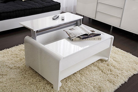 Table basse blanche laquée tablette relevable