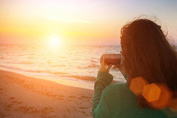 prendre une photo contrejour coucher de soleil