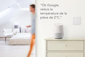 chauffage pilotable à la voix avec Google