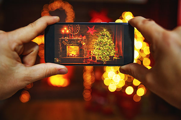 prendre en photo les décorations et lumières de Noel