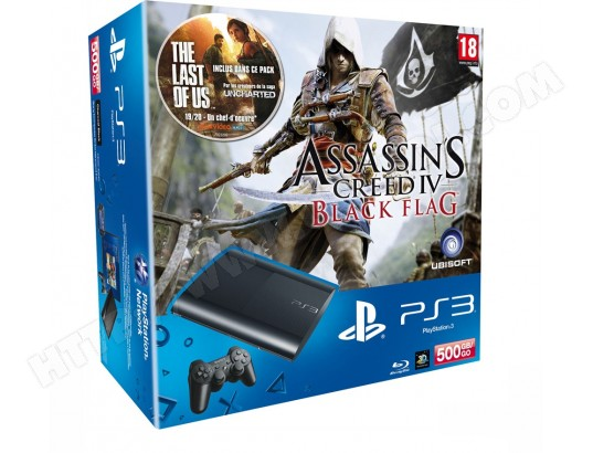 Console PS3 SONY 500 Go Noire + Assassin's Creed 4 : Black Flag