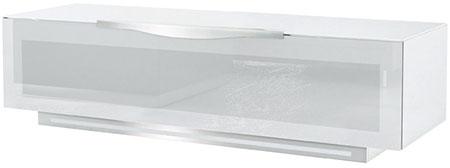 Meuble TV blanc et verre laqué