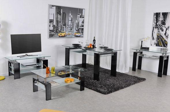 Meuble TV, Consolet et table basse Gloria en verre