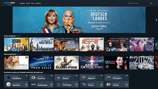 Interface Amazon Prime Vidéo