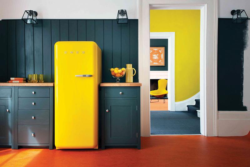 refrigerateur vintage jaune