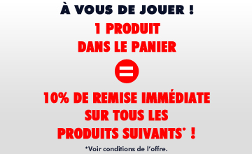 1 produit dans le panier = 10% de remise immédiate sur les produits suivants