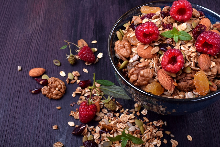 poké bowl granola fruits healthy