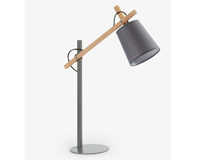 Lampe de table Jovik en métal et bois naturel