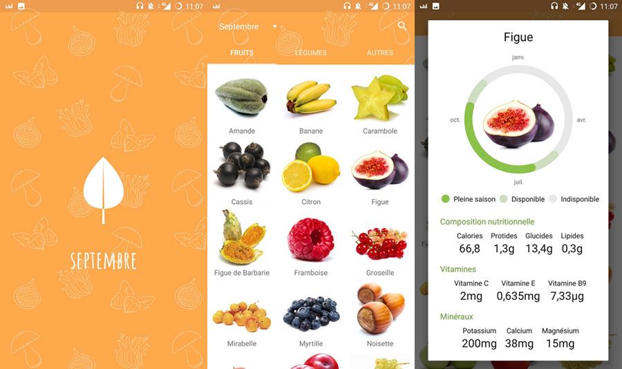 app android fruits et légumes de saison
