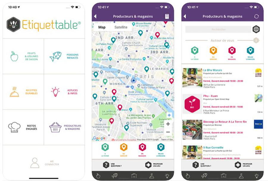app etiquettable pour localiser restaurant