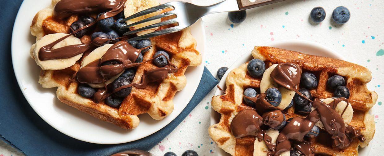 gaufres banane chocolat