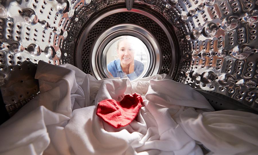 décoloration dans machine à laver