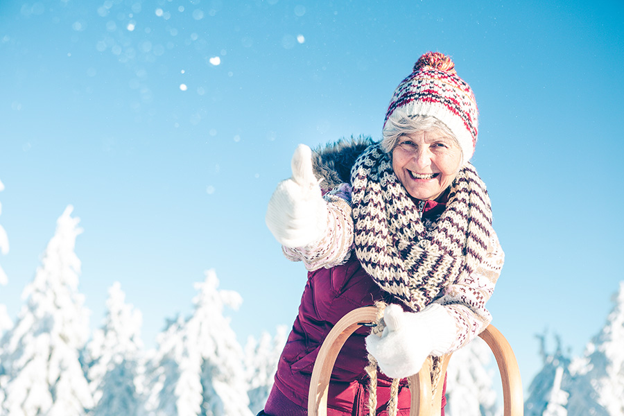 mamie à la neige