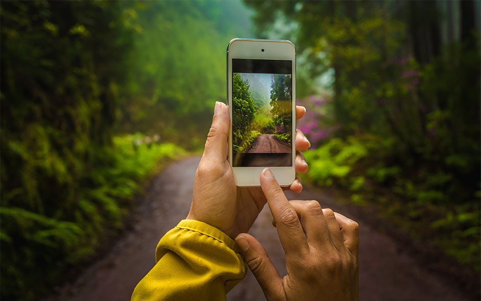 amatrice-prenant-photo-nature-avec-smartphone